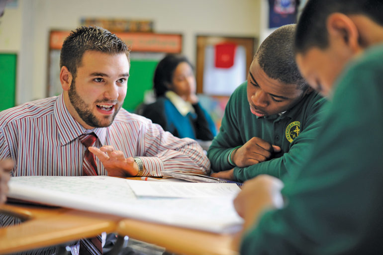 Boston College Lynch School of Education and Human Development student teaching in a classroom with students.